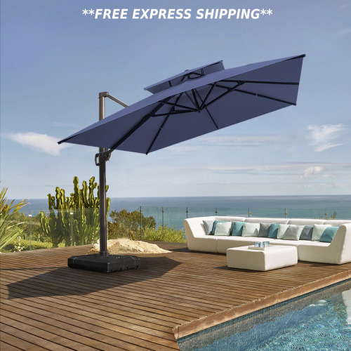 Luxury 10FT Patio Square Umbrella Double Top Hanging Offset And Crank Cross Base $519.99