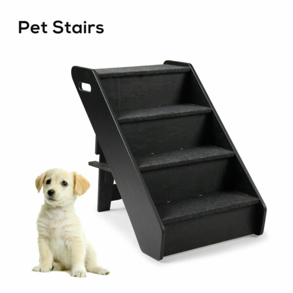 Dog Pet Stairs 4 Steps Folding Climb Ladder Pet Puppy Stairs for Couch Bed Black