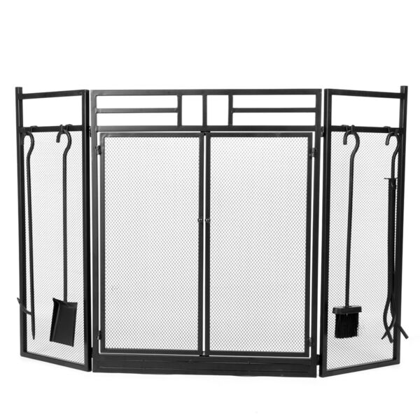 Wrought Iron Steel Fireplace Screen Black 4 Panel 49.5 x 35.6in