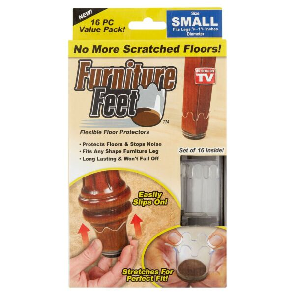 Furniture Feet Small Flexible Floor Protectors Value Pack 16 count $12.99