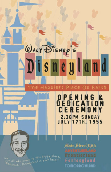 Retro Style Disneyland Opening Day Attraction Poster Print 11x17 $20.99