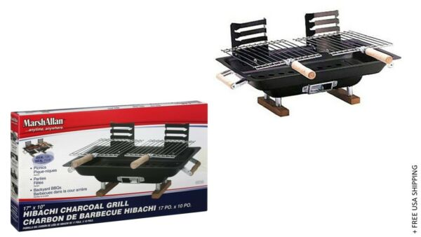 Marsh Allan Hibachi Charcoal Grill 17quot; x 10quot; by Kay Home Products