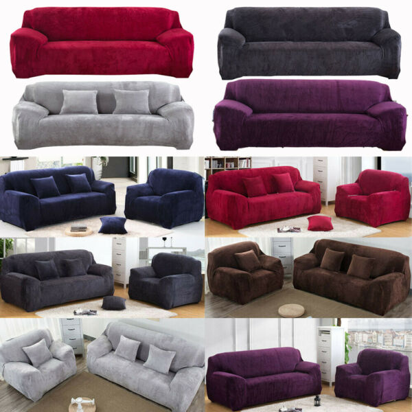 Stretch Plush Thick Sofa Covers 1 2 3 4 Seater Couch Chair Slipcover Protector