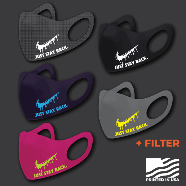 3D Fashion Mask With A Filter Reusable Print Nike quot;Just Stay Backquot; Set of 3
