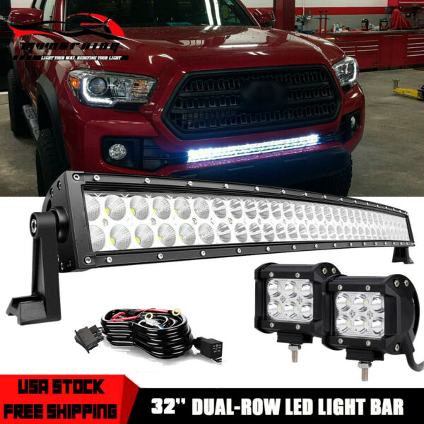 30 32quot; LED Light Bar Lower Bumper 32#x27;#x27; Curved Dual Row For Toyota Tacoma Tundra