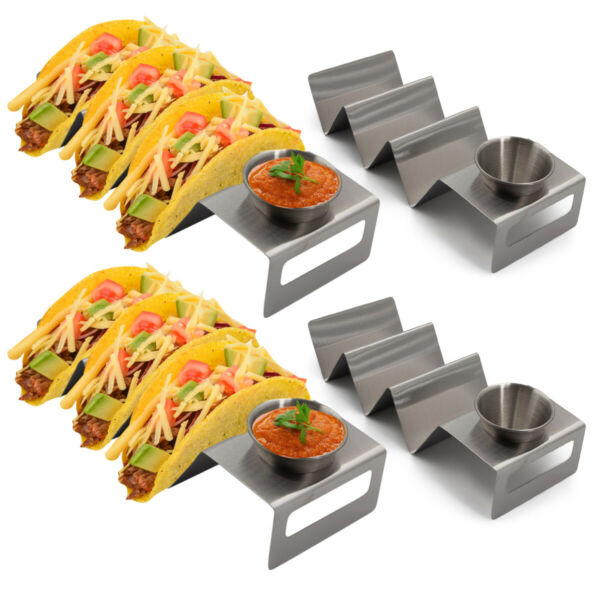 4pk California Home Goods Taco Holders w Sauce Cups Stainless Steel Heat Safe $16.99