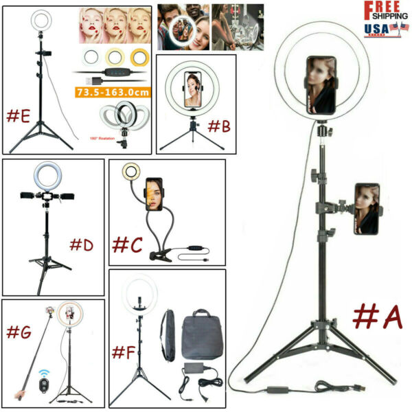 6#x27;#x27; 10#x27;#x27; 18#x27;#x27; Dimmable LED Selfie Ring Light Phone Tripod Stand For Live Stream
