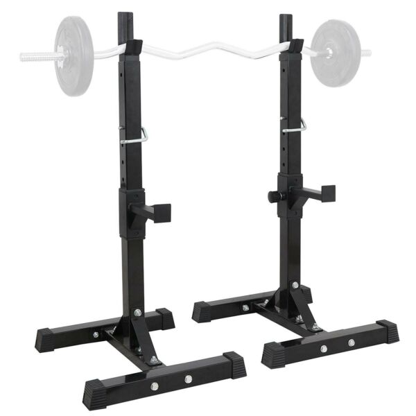 Squat Rack Adjustable Bench Press Weight Exercise Barbell Stand Gym Fitness BK $69.88