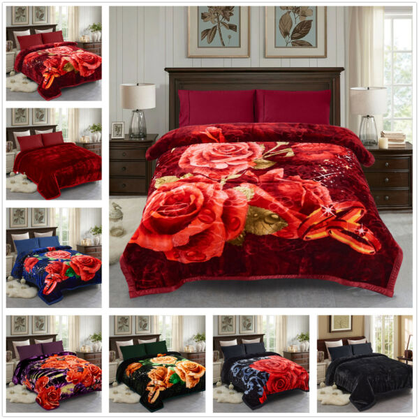 Christmas Thick Blanket King Heavy 2 Ply Reversible Silky Mink Bedspread $56.99