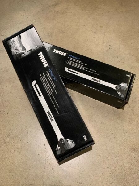 NIB PAIR of Thule Wheel On Front Wheel Rack for Roof Racks; Quick Release; 24quot; $50.00
