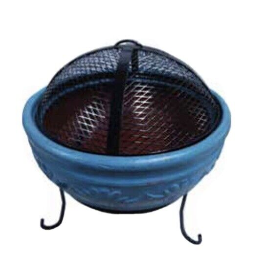 Outdoor Ceramic Fire Pit Bowl Fireplace Mesh Cover Backyard Patio Wood Burning
