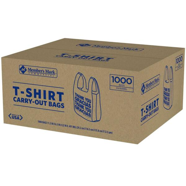 Members Mark T Shirt Thank You Plastic Shopping Bag 1000ct Recyclable
