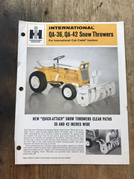 Cub Cadet Snowblower QA36 QA42 First Year Sales Literature