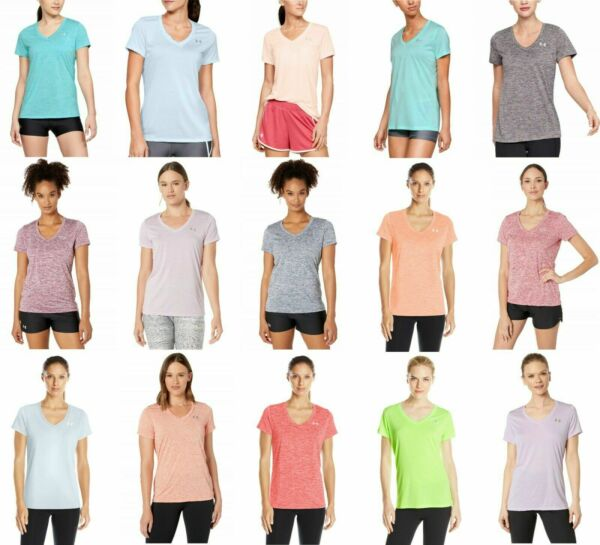 New With Tags Womens Under Armour Twisted Tech V Neck Tee Shirt Top $16.91