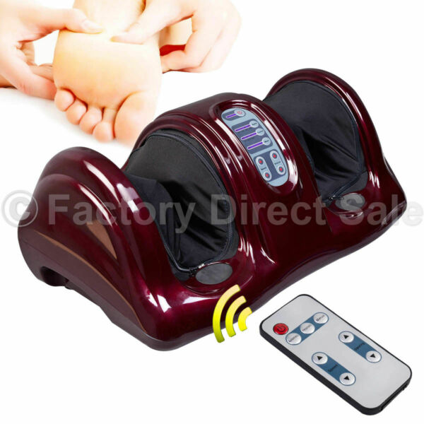 Shiatsu Foot Massager Kneading and Rolling Leg Calf Ankle w New Remote Red Burgu