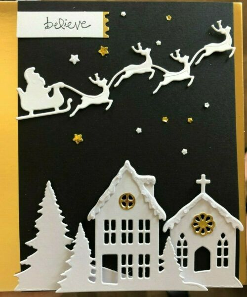 Stampin Up BELIEVE cm stamp amp; BUILD A HOLIDAY SCENE LAYERING DIES snowy home