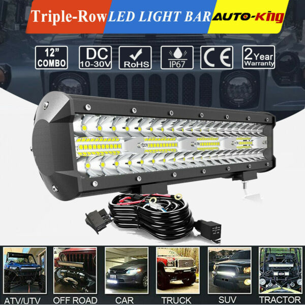 12quot; Cree LED Work Light Bar Spot Flood Combo Offroad Driving 4WD ATV Wiring 14quot;