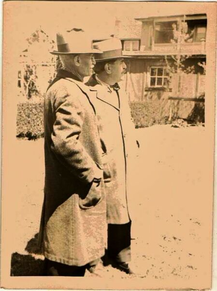 Old Vintage Antique Photograph Two Men Wearing Overcoats and Cool Hats
