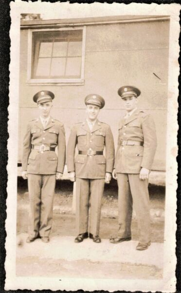 Antique Vintage Photograph Three Military Men Wearing Uniforms