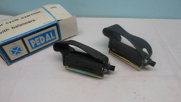 NOS Vintage excersise Bicycle pedals with balancers 9 16 stationary bike straps $15.00