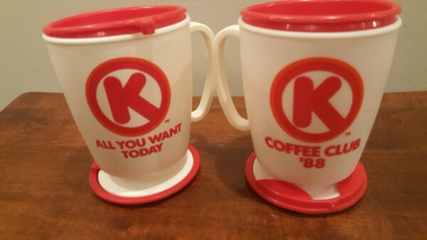 VINTAGE CIRCLE K COFFEE CLUB CUP 1988 LOT OF 2 WHITE AND RED