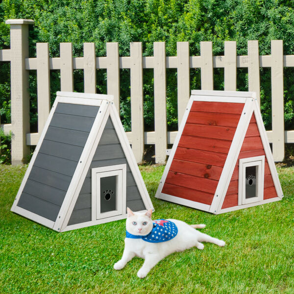 Triangle Wood Cat Pet House Cat Condo with Double Entrances Outdoor and Indoor $43.99