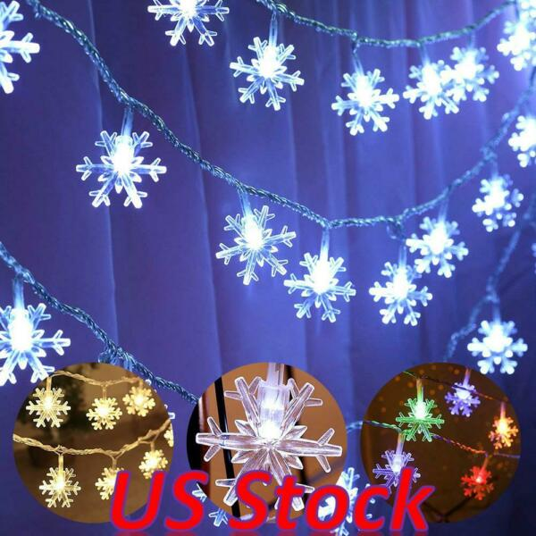 Christmas Snowflake String Fairy Lights Battery Operated Hanging Home Party Xmas $17.89