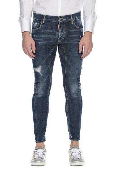 DSQUARED2 JEANS Tidy Biker Jeans Blue Size 50 Made in Italy Dsquared D2 $120.00