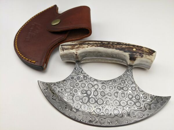 Alaskan Ulu Knife Damascus Steel Blade Bone Handle Leather Sheath Included