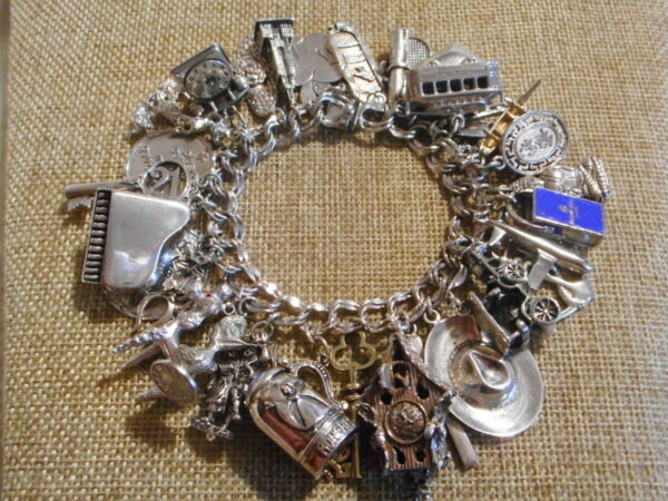 Vintage Sterling Silver Heavy Large Charm Bracelet 31 Charms 7.25quot; 140.0 Grams $279.99