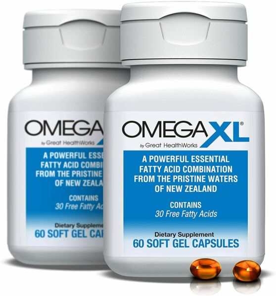 2 x Omega XL 60ct by Great HealthWorks: Small Potent Omega 3 2 NEW BOTTLES $69.99