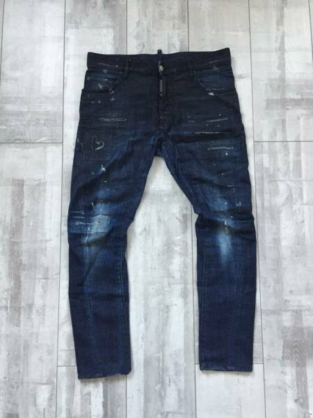 DSQUARED2 JEANS Tidy Biker Jeans Blue Denim Size 48 Dsquared D2 Made in Italy $199.00