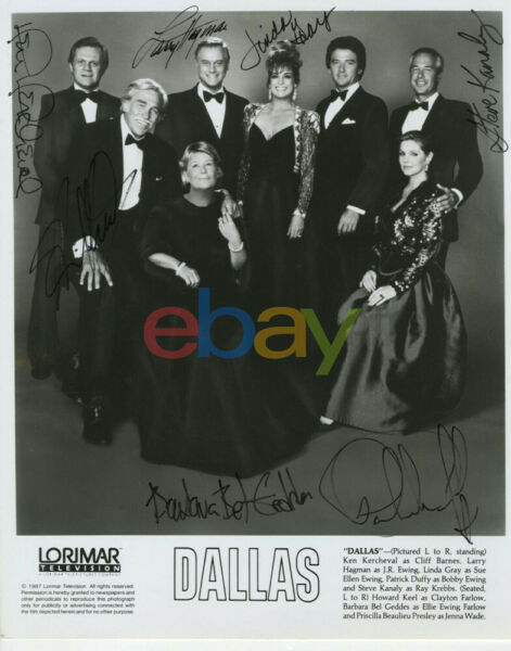 Dallas Rare Cast x 7 Vintage Signed 8x10 Photo reprint
