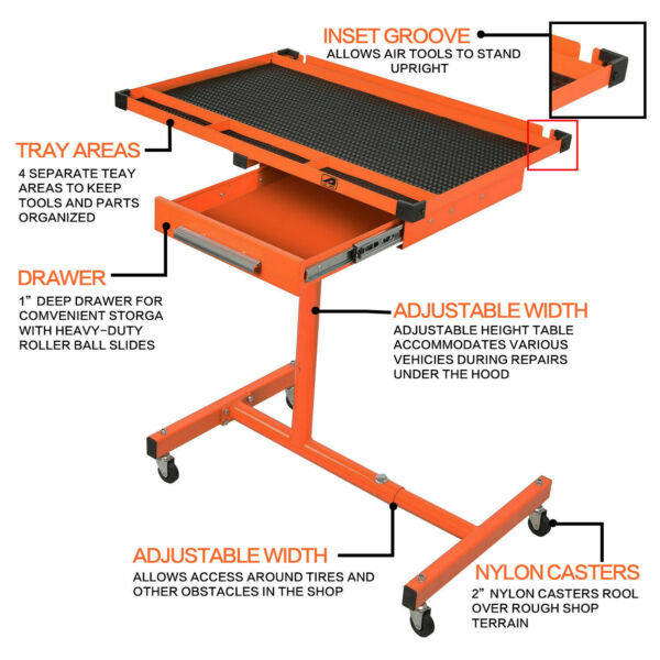 Heavy Duty Adjustable Work Bench200 lbs Rolling Tool Table Cart Tray With Wheel $29.99