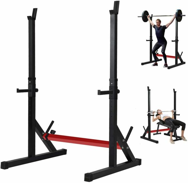 Adjustable Squat Rack Barbell Rack Multi Function Bench Press 550lbs Max Gym $159.99