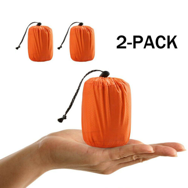 2Pcs Thermal Emergency Sleeping Bag Outdoor Camping Gear For Hiking Survival