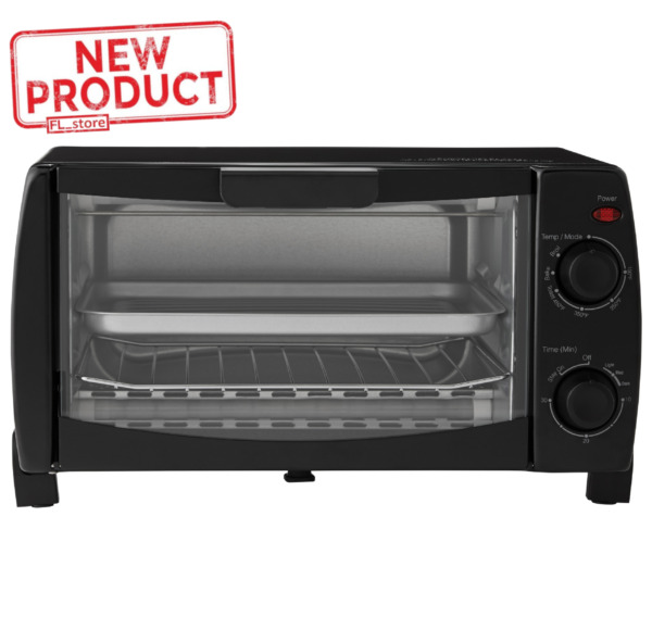 4 Slice Black Toaster Oven W Dishwasher Safe Rack amp; Pan Home Kitchen Black NEW