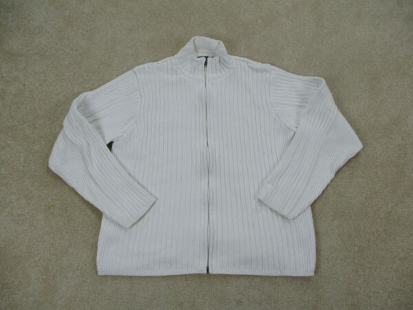 VINTAGE Nike Sweater Adult Large White Full Zip Knit Long Sleeve Casual Mens * $23.10