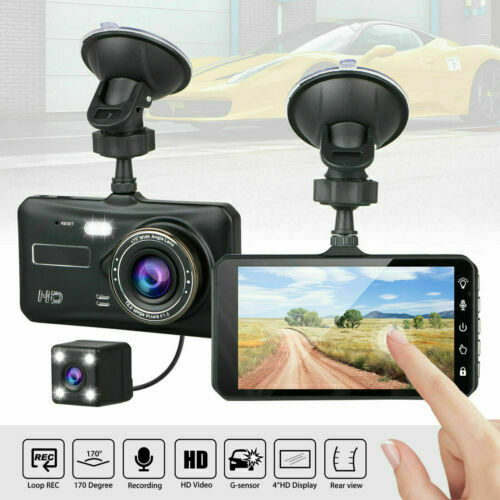 4quot; In Car Camera Recorder Dual Front and Rear HD 1080P Dash Cam Night Vision US