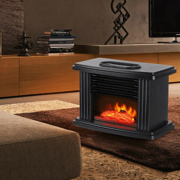 1000W Electric Flame Heater Fireplace Small Air Heater 3 Gear Heater Stove Black