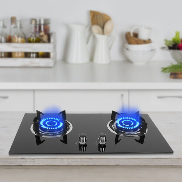 29quot; Tempered Glass 2 Burners Kitchen Liquefied Gas Stove Cooktops Cooker Black