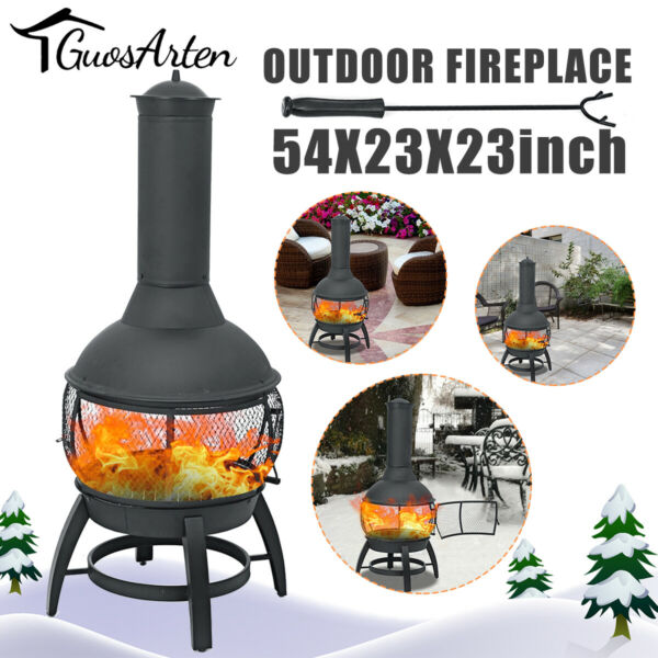 Chiminea Outdoor Fire Pit Fireplace Patio Firepit Wood Burning Heater Iron Gift