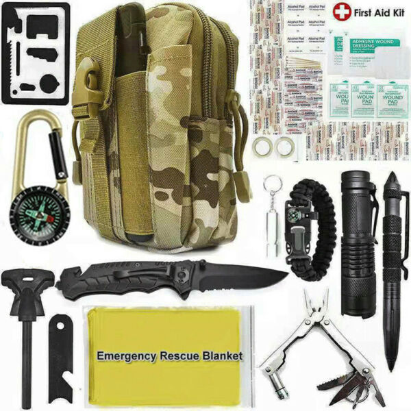 40 in 1 Survival Outdoor Camping Kit Military Tactical Emergency Tools Molle Bag