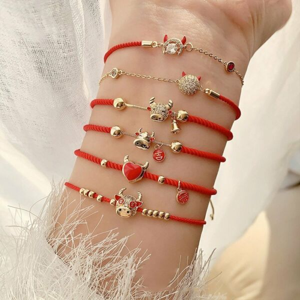2021 Chinese New Year Gift Cattle Bracelets For Women Lucky Red Rope Bangle Gift $2.49