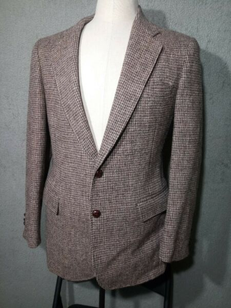 Vintage 38R Mens HARRIS TWEED Custom Box Weave Brown Blazer Sport Coat