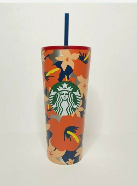 New Starbucks Tumbler Summer Hawaiian Floral 24oz stainless steel Cup Straw