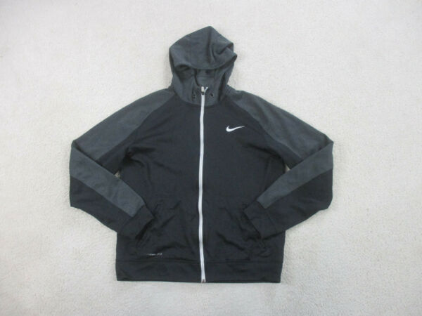Nike Sweater Adult Large Black White Spell Out Hooded Hoodie Elite Mens * $18.88