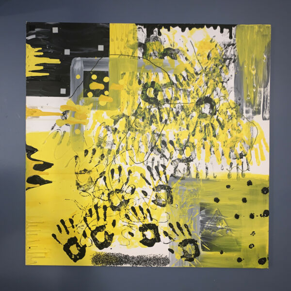 yellow and black large abstract painting on canvas 3ft x 3ft