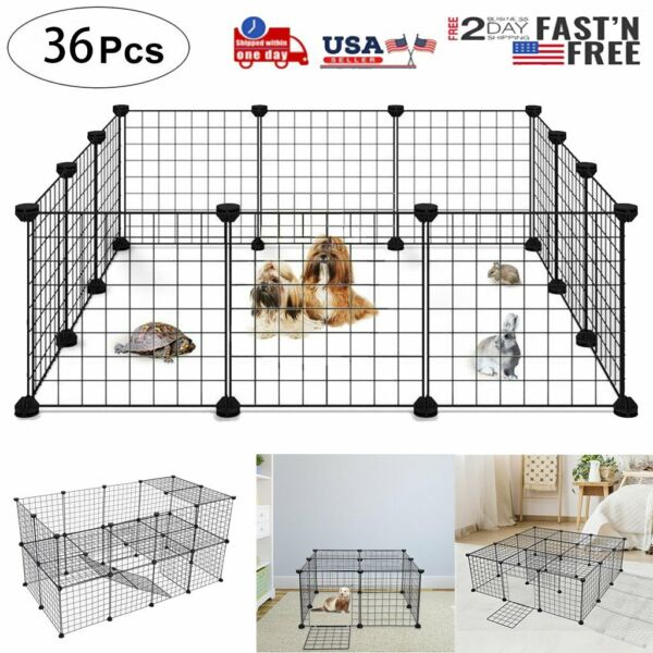 14 Inch 36 Panels Tall Dog Playpen Large Crate Fence Pet Play Pen Exercise Cage