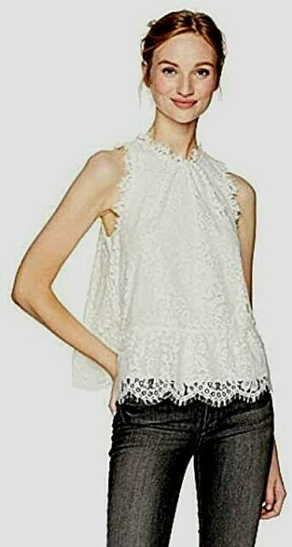 JOIE MARINETH XS SLEEVELESS TOP MADE OF LACE AND FEATURES A PEPLUM AT THE WAIST